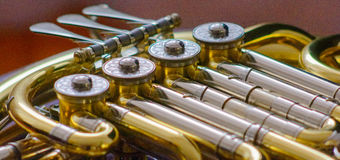 stock image of  french horn detail