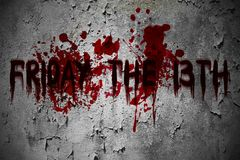 stock image of  friday the 13th horror scary grunge blood text