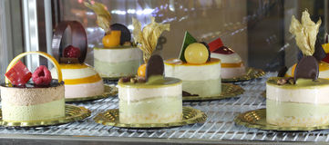stock image of  frozen desserts at the restaurant inside the refrigerator