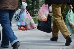 stock image of  full plastic bags