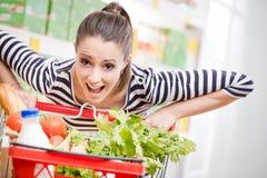 stock image of  full shopping cart