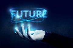 stock image of  future concept, opened hand controling text with blue digital