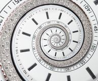 stock image of  futuristic modern white clock watch abstract fractal surreal spiral. watch clock unusual abstract texture pattern fractal backdrop