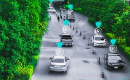 stock image of  futuristic road genius for intelligent self driving cars,artificial intelligence system,detecting objects,changing wrong lanes car