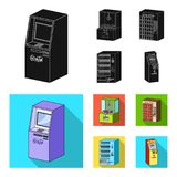 stock image of  a game machine, a ticket sales terminal, an automaton for selling aqua and chocolate. terminals set collection icons in
