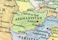 stock image of  geographic map of afghanistan with important cities