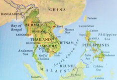 stock image of  geographic map of burma, thailand, cambodia, vietnam and philippines with important cities