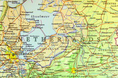 stock image of  geographic map of european country netherlands with important cities