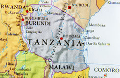 stock image of  geographic map of tanzania country with important cities