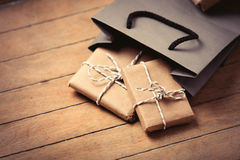 stock image of  gifts and bag
