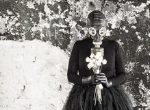 stock image of  the girl in a gas mask. the threat of ecology.
