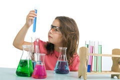 stock image of  girl in science class