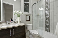 stock image of  glass walk-in shower in a bathroom of luxury home