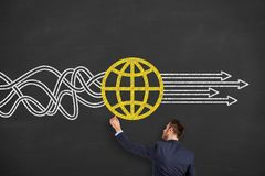stock image of  global business solution concepts on chalkboard background