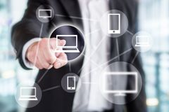 stock image of  global information technology, wireless online network.
