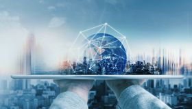 stock image of  global network connection technology and modern building. element of this image are furnished by nasa