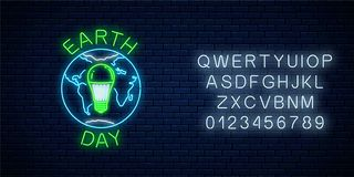 stock image of  glowing neon sign of world earth day with globe symbol and green led light bulb with alphabet. earth day neon banner