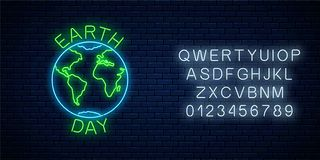 stock image of  glowing neon sign of world earth day with globe symbol and greeting text with alphabet. earth day neon banner