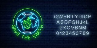 stock image of  glowing neon sign of world earth day with leaves in globe symbol and text with alphabet. earth day neon banner