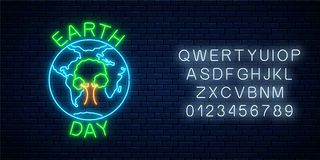 stock image of  glowing neon sign of world earth day with tree in globe symbol and alphabet. earth day neon banner
