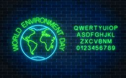 stock image of  glowing neon sign of world environment day with globe symbol and alphabet. earth day neon banner.
