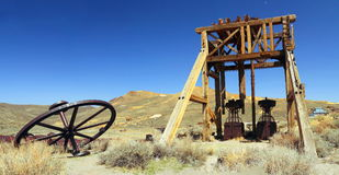 stock image of  gold mining equipment at bodie state historic site, california