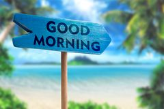 stock image of  good morning sign board arrow