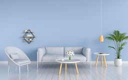 stock image of  gray sofa in living room, 3d rendering