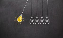 stock image of  great idea. creativity concept with light bulbs on chalkboard