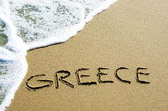 stock image of  greece in the sand