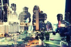 stock image of  group of business partner looking for the future. concept of corporate and startup. double exposure