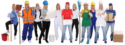 stock image of  group of workers professions women professionals standing occupation career isolated