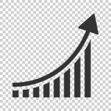 stock image of  growing bar graph icon in flat style. increase arrow vector illustration on isolated background. infographic progress business co