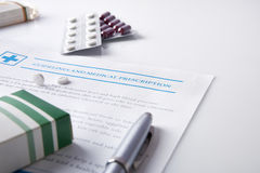 stock image of  guidelines and medical prescription with drug blisters elevated