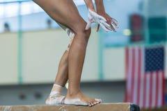 stock image of  gymnastics girl balance beam closeup legs hands