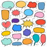 stock image of  hand drawn bubbles set. doodle style comic balloon, cloud shaped design elements.