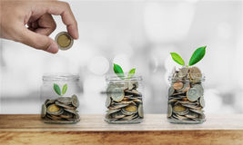 stock image of  hand putting coin in glass bottles with plants glowing, saving money , investment and economize concept