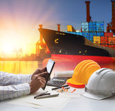 stock image of  hand of working man in shipping ,logistic freigh cargo transport