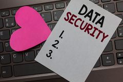 stock image of  handwriting text data security. concept meaning confidentiality disk encryption backups password shielding paper