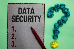 stock image of  handwriting text writing data security. concept meaning confidentiality disk encryption backups password shielding gray