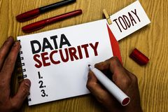 stock image of  handwriting text writing data security. concept meaning confidentiality disk encryption backups password shielding man holding mar