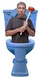 stock image of  handyman home repair plumber fix house leak humor