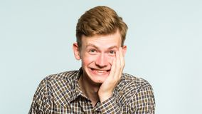 stock image of  happiness enjoyment laugh man wide grin emotion