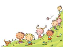 stock image of  happy cartoon kids running, vector frame with a copy space