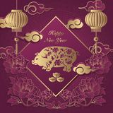 stock image of  happy chinese new year retro elegant relief peony flower lantern pig cloud ingot and spring couplet