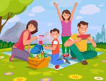 stock image of  happy family on a picnic in nature outside the city