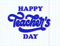 stock image of  happy national teachers day lettering. creative abstract poster
