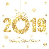 stock image of  happy new year 2019. decorative font made of swirls and floral elements. golden numbers and christmas wreath isolated on a white