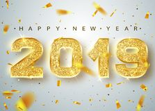 stock image of  2019 happy new year. gold numbers design of greeting card of falling shiny confetti. gold shining pattern. happy new