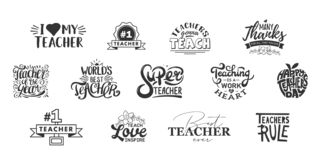 stock image of  happy teachers day lettering and typography quote. world best teacher badges for gift, design holiday cards and print.